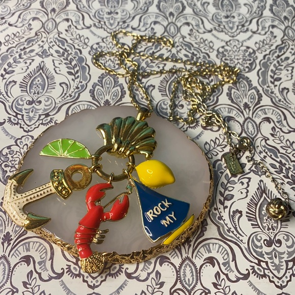 Vintage Lilly Pulitzer Rock My Boat Charm Necklace